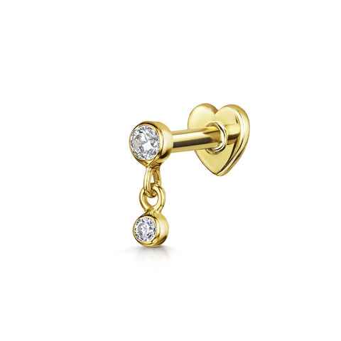9k yellow solid gold tiny moon labret stud cartilage earring