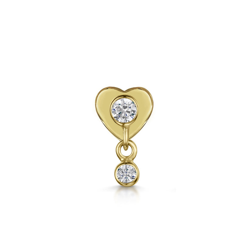 9k solid yellow gold hanging crystal gem flat back labret stud - LAURA BOND jewellery
