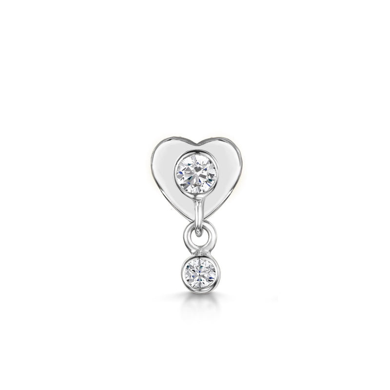 9k solid white gold hanging crystal gem labret flat back labret stud - LAURA BOND jewellery