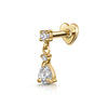 9k solid white gold hanging tear drop flat back labret stud