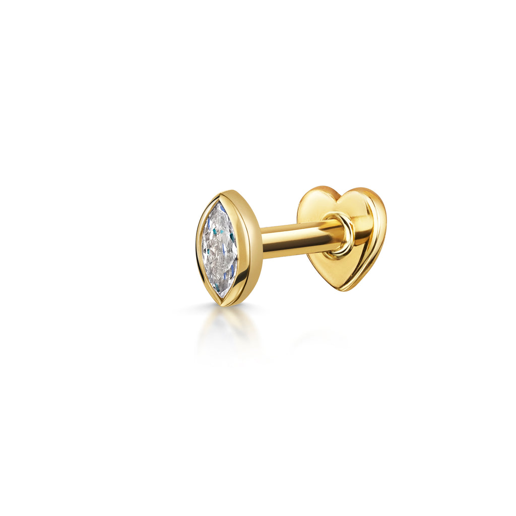 9k solid yellow gold bezel set marquise flat back labret stud - LAURA BOND jewellery