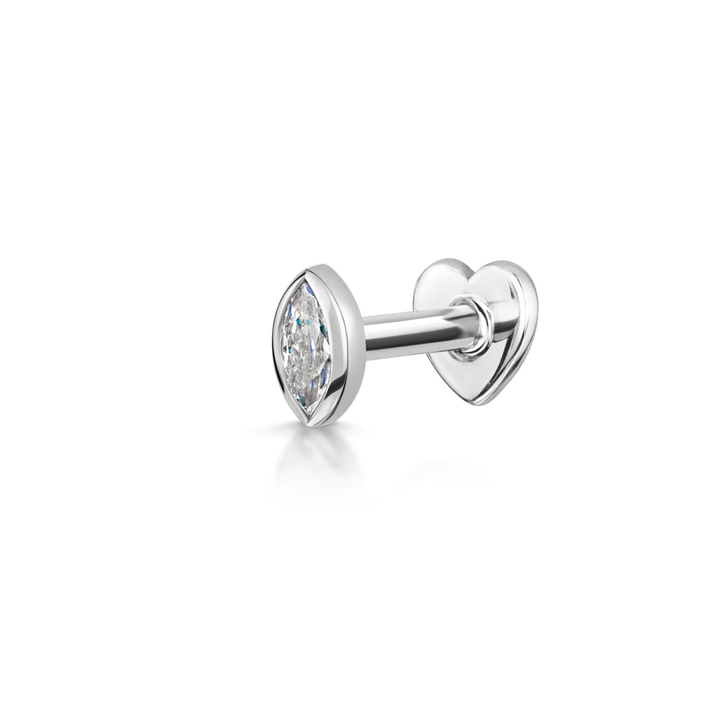 9k solid white gold marquise flat back labret stud - LAURA BOND jewellery