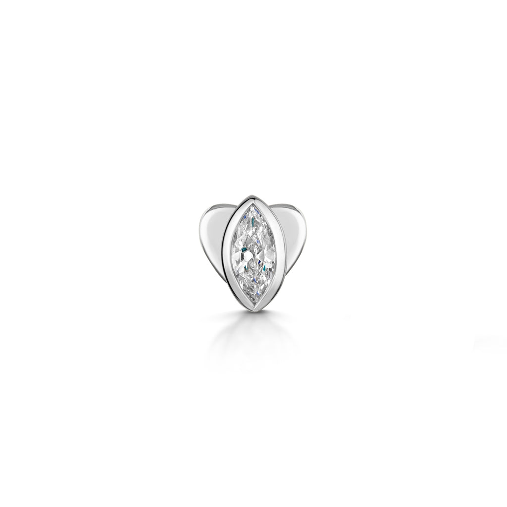 9k solid white gold bezel set marquise flat back labret stud - LAURA BOND jewellery