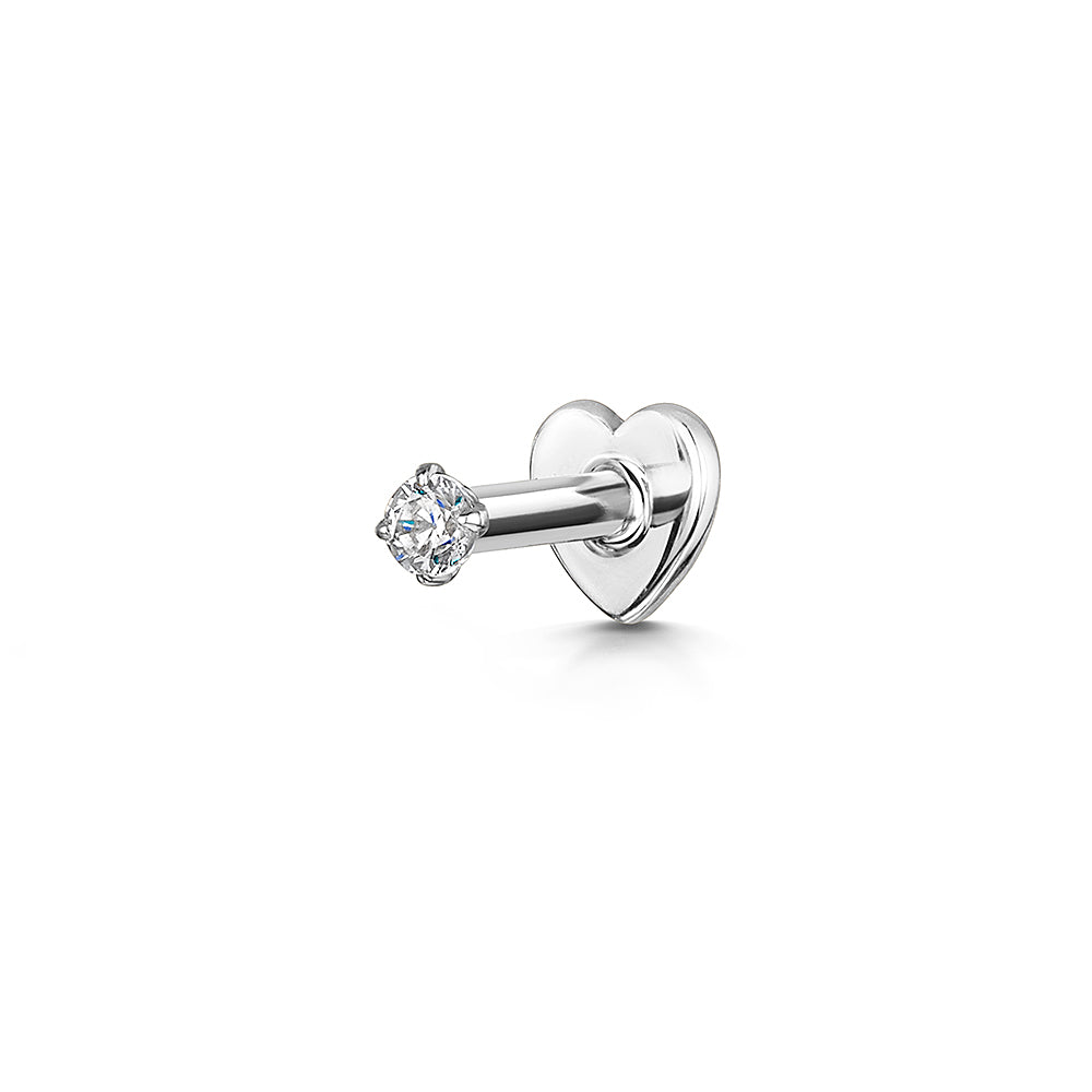 9k solid white gold tiny crystal gem flat back labret stud - LAURA BOND jewellery
