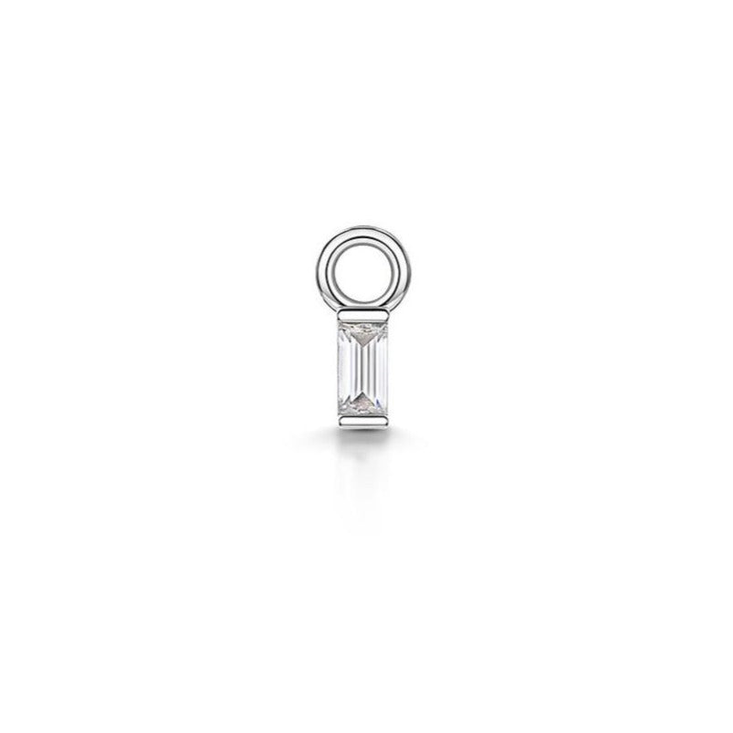 9k white gold tiny crystal baguette charm for clicker hoop earring - LAURA BOND jewellery