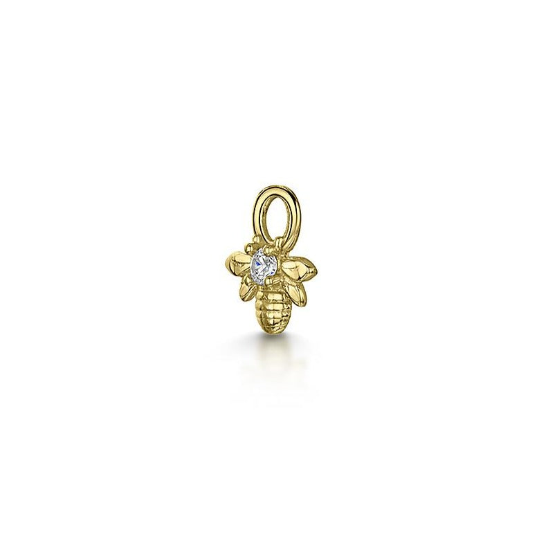 9k yellow gold tiny crystal bee charm for clicker hoop earring - LAURA BOND jewellery