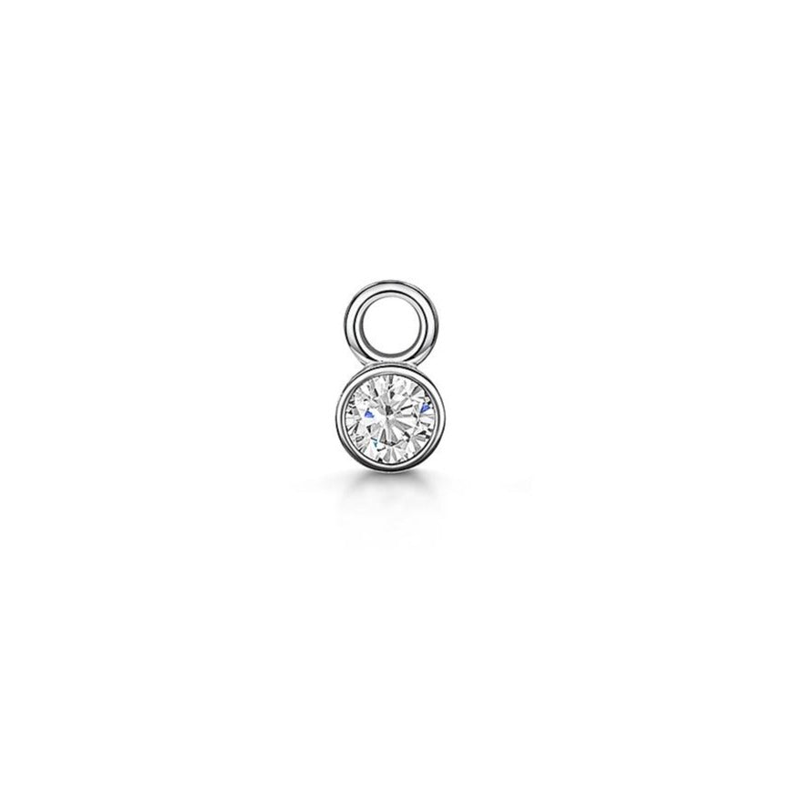 9k white gold tiny crystal charm for clicker hoop earring - LAURA BOND jewellery