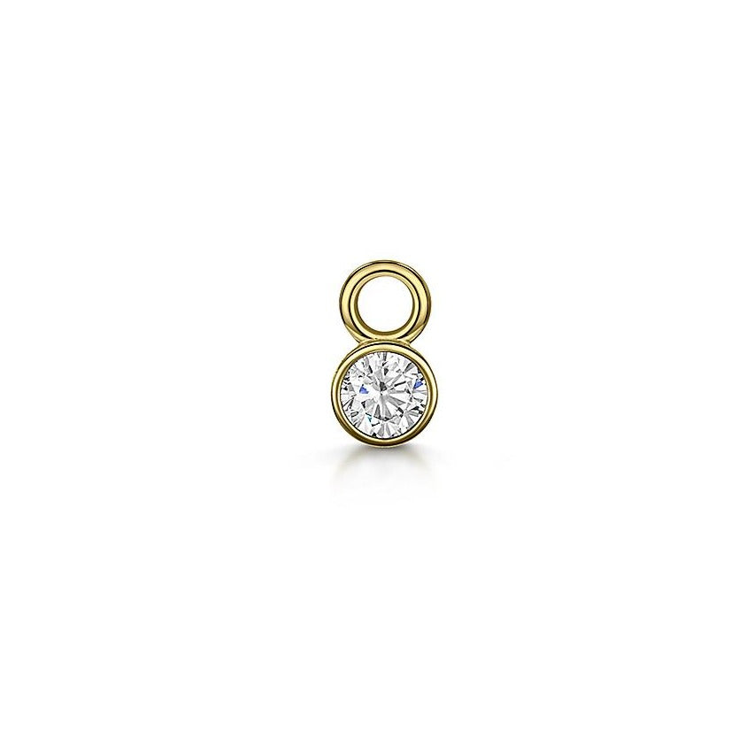 9k yellow gold tiny crystal charm for clicker hoop earring - LAURA BOND jewellery