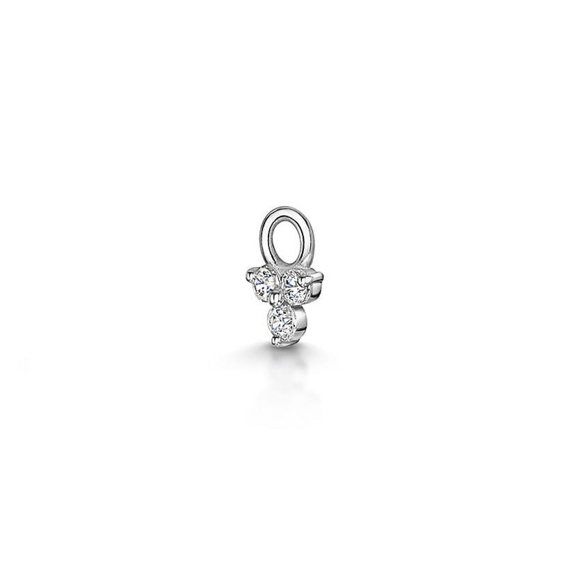 9k white gold tiny crystal trio charm for clicker hoop earring - LAURA BOND jewellery