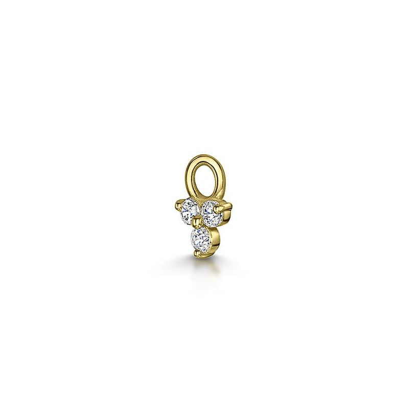 9k yellow gold tiny crystal trio charm for clicker hoop earring - LAURA BOND jewellery