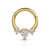 9k white solid gold front facing triple marquise daith hoop earring