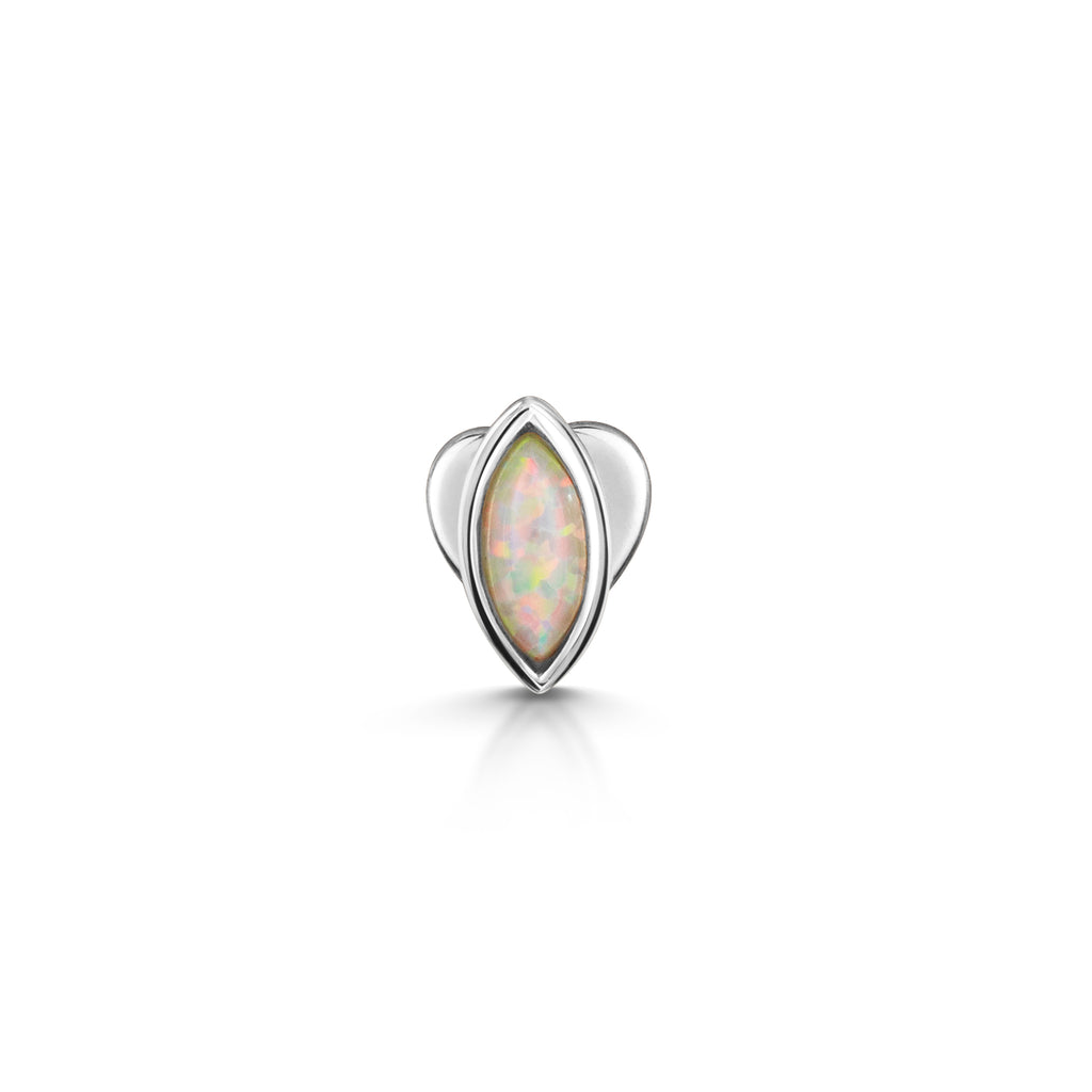 9k solid white gold opal marquise flat back labret stud - LAURA BOND jewellery