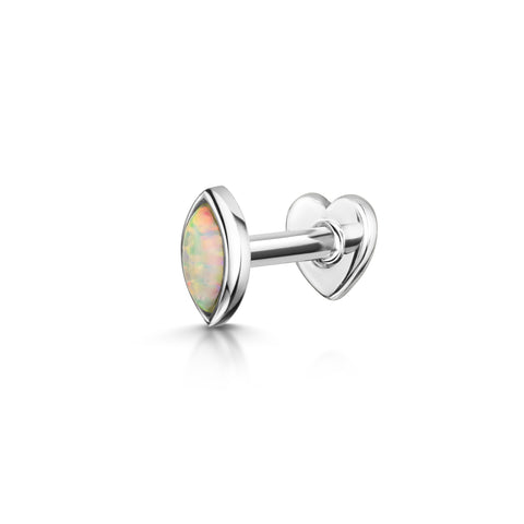 9k white solid gold opal chain stud earring