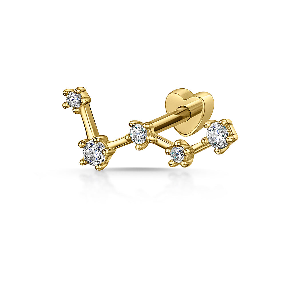 9k yellow solid gold constellation stud earring - LAURA BOND jewellery