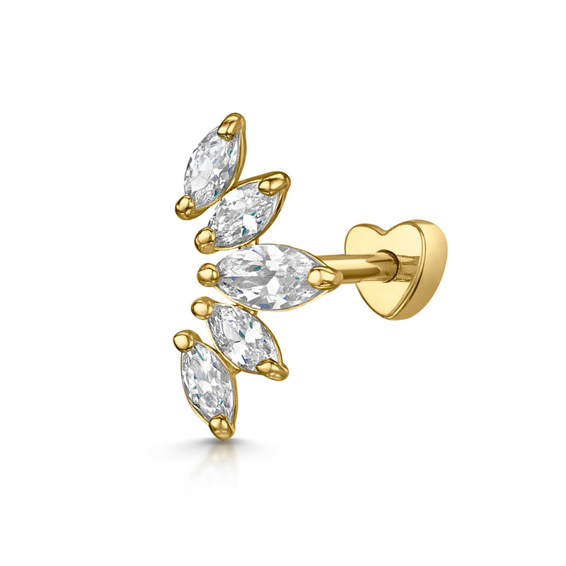 14k yellow solid gold crystal tiara barbell stud earring - LAURA BOND jewellery