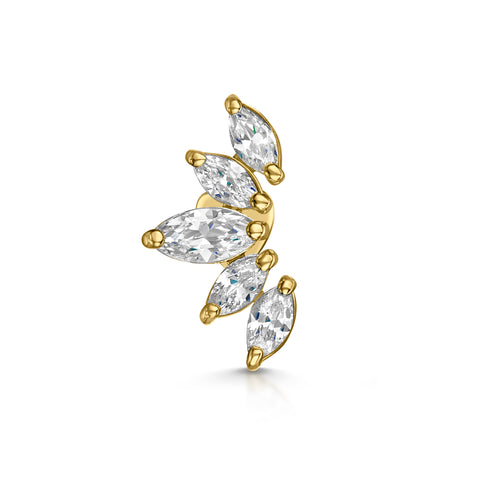 14k yellow solid gold Lily cartilage stud earring