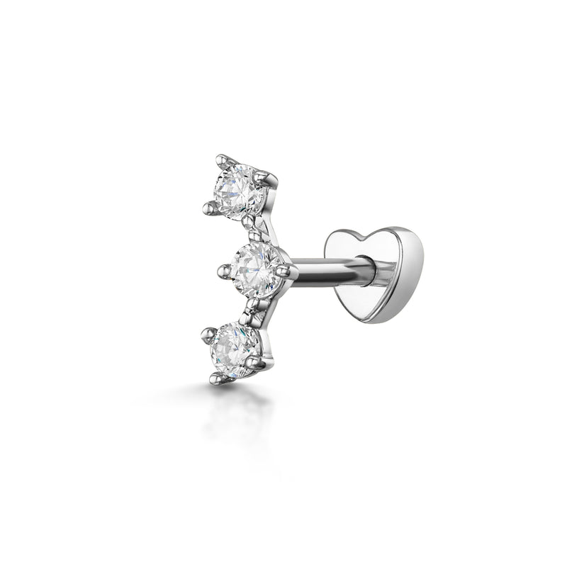 9k white solid gold trinity crystal screw back stud earring - LAURA BOND jewellery
