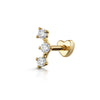 9k yellow solid gold crystal trio labret cartilage stud earring