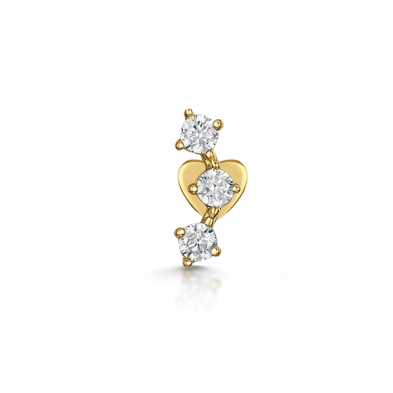 9k yellow solid gold trinity crystal flat back stud earring - LAURA BOND jewellery