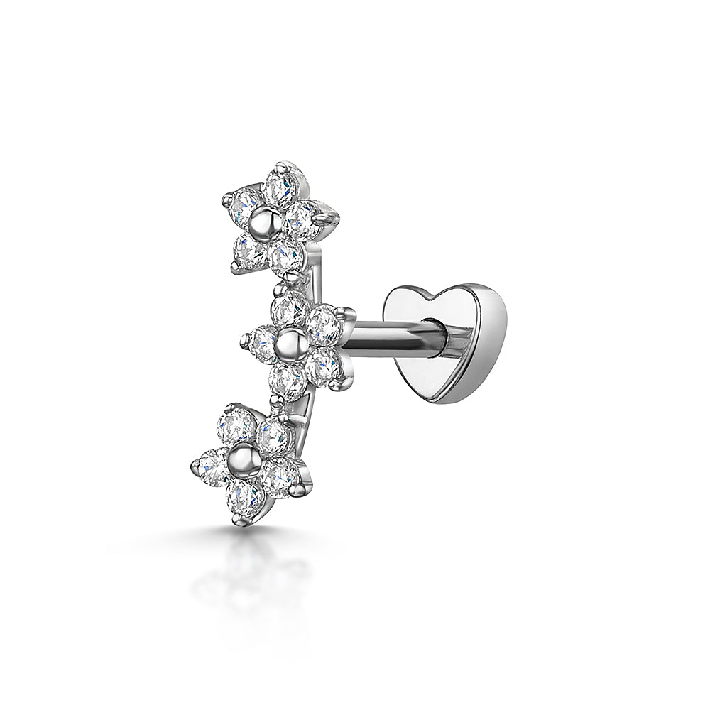 9k white solid gold daisy chain stud earring - LAURA BOND jewellery