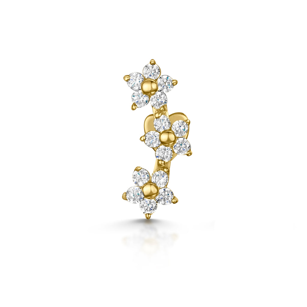 9k yellow solid gold daisy chain stud earring - LAURA BOND jewellery