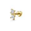 9k white solid gold crystal chain stud earring