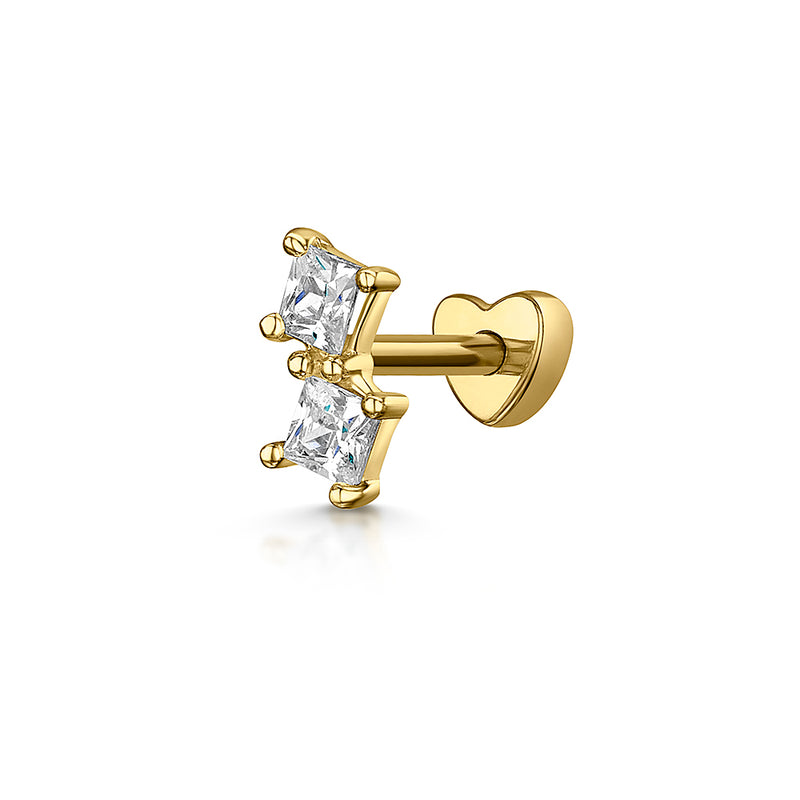 9k yellow solid gold double crystal stud earring - LAURA BOND jewellery