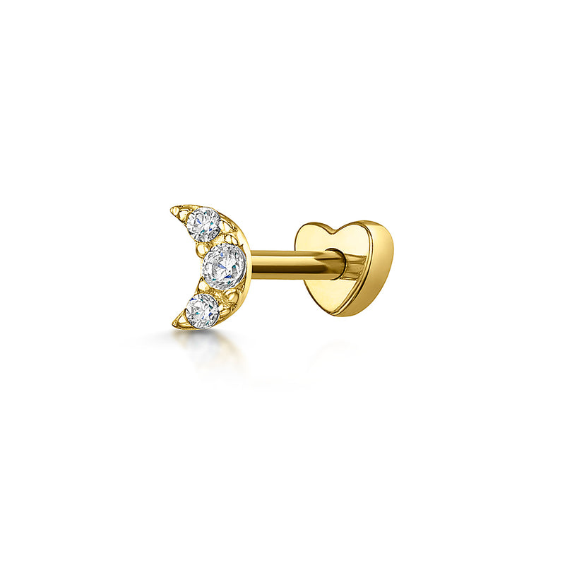 9k yellow solid gold crescent moon stud earring - LAURA BOND jewellery