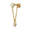 9k solid yellow gold abstract crystal huggie earring