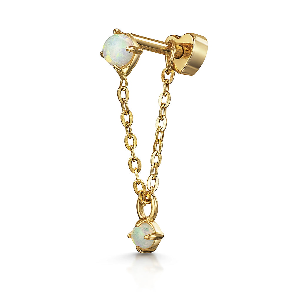 9k yellow solid gold opal chain stud earring - LAURA BOND jewellery