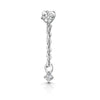9k white solid gold crystal chain stud earring - LAURA BOND jewellery