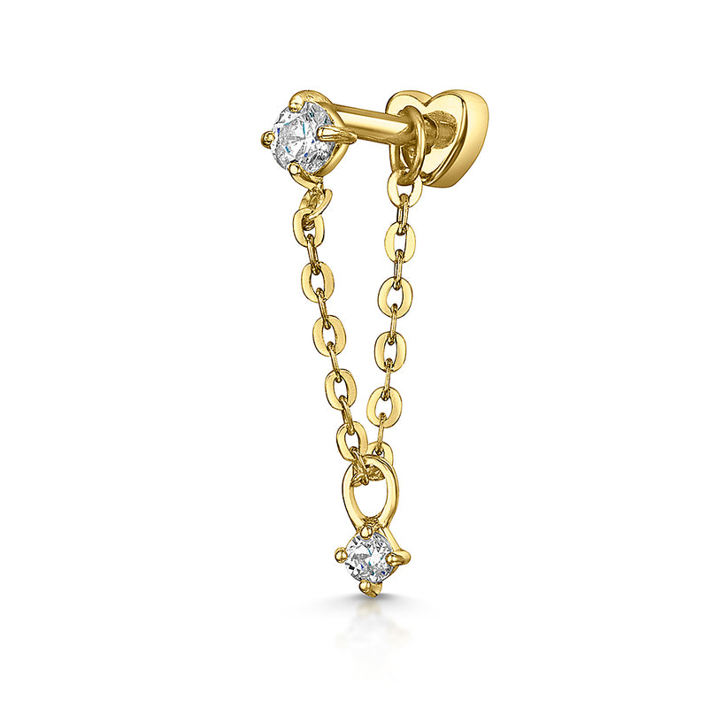 9k yellow solid gold crystal chain stud earring - LAURA BOND jewellery