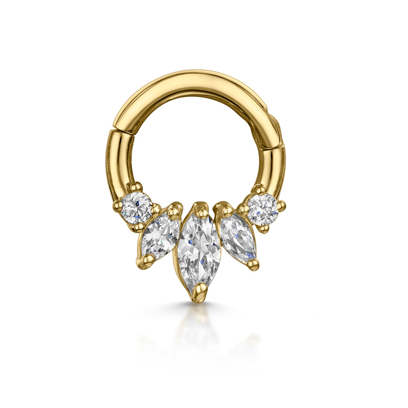 14k yellow solid gold front facing triple marquise daith hoop earring - LAURA BOND jewellery