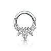 9k white solid gold front facing triple marquise daith hoop earring - LAURA BOND jewellery