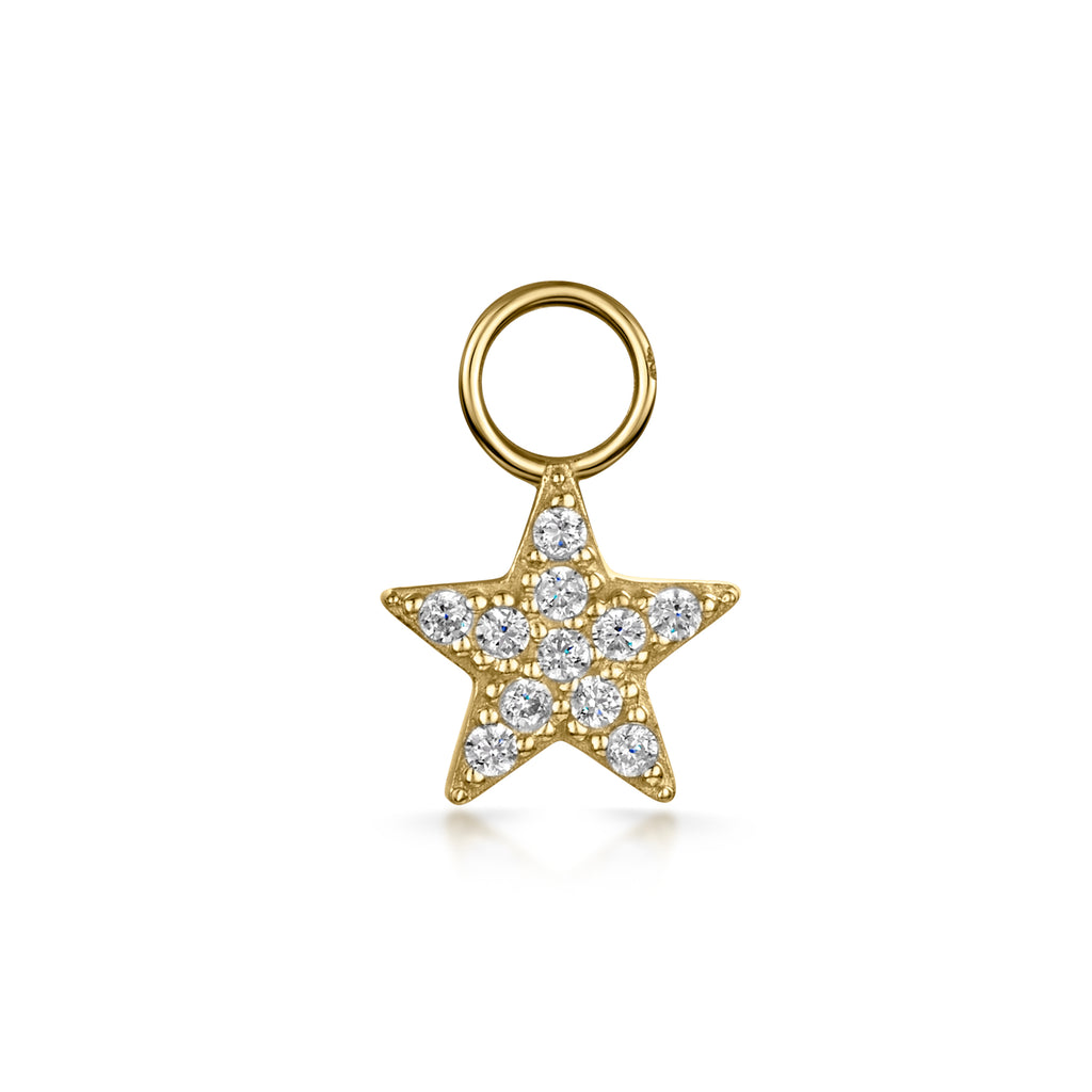 9k solid yellow gold tiny crystal star charm - LAURA BOND jewellery