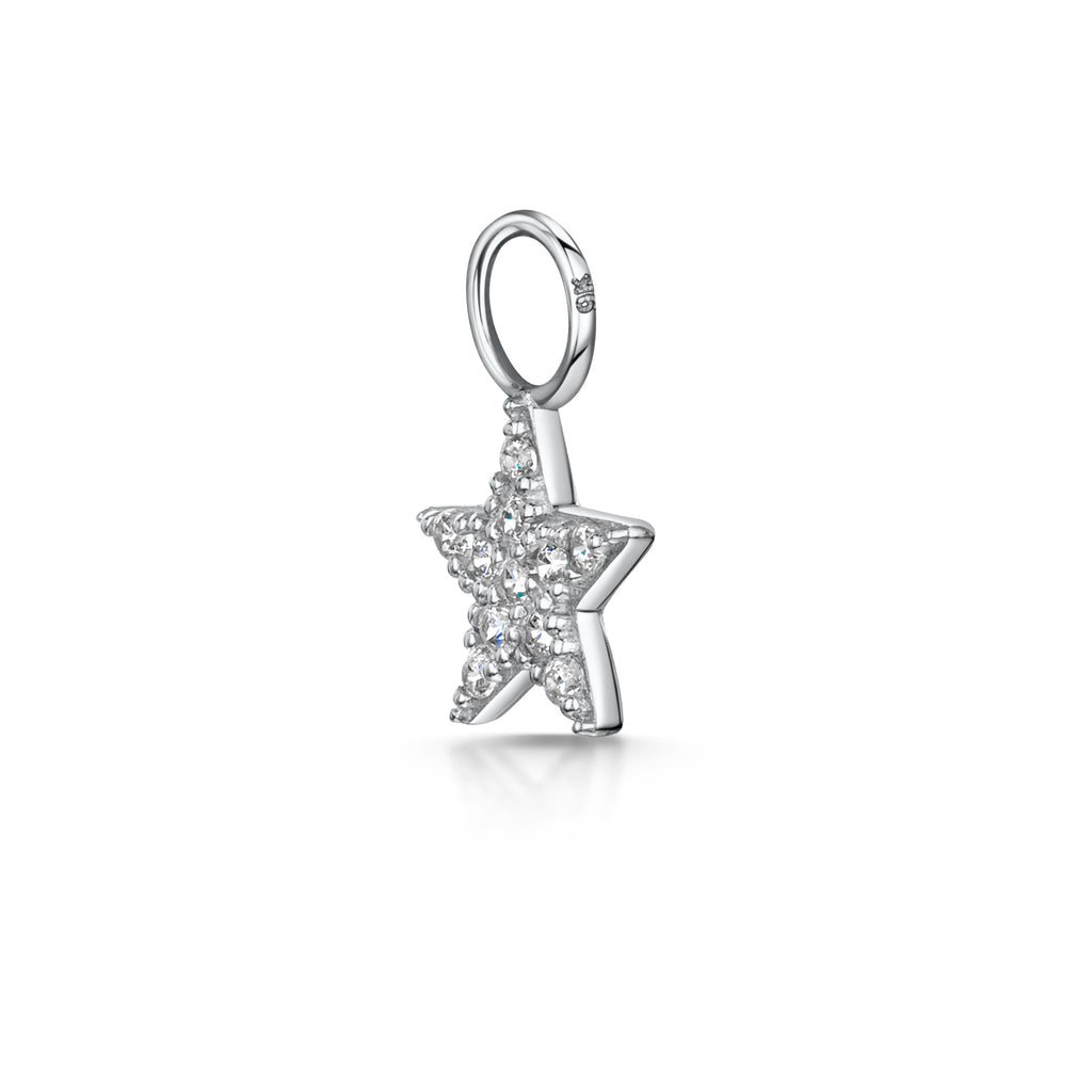 9k solid white gold tiny crystal star charm - LAURA BOND jewellery