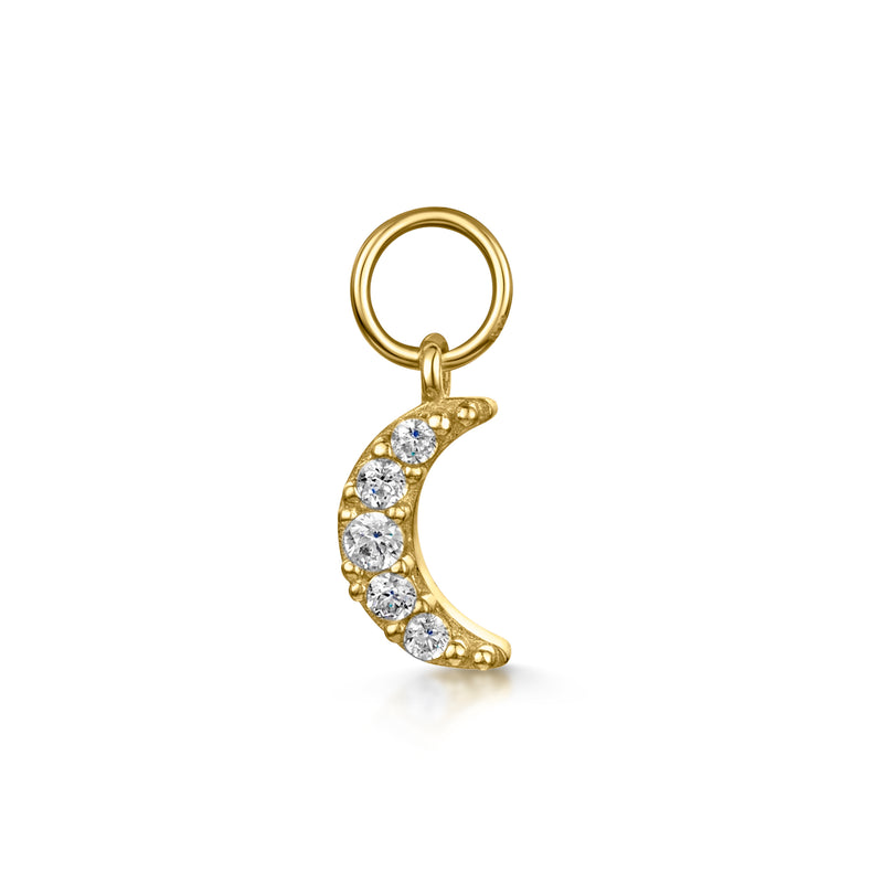 9k solid yellow gold tiny crystal moon charm - LAURA BOND jewellery