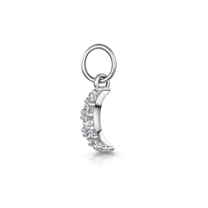 9k solid white gold tiny crystal moon charm - LAURA BOND jewellery