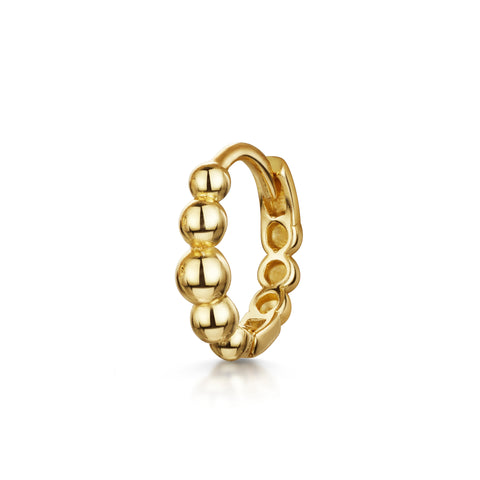 9k yellow solid gold crystal clicker hoop earring