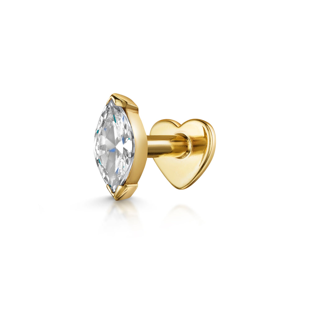9k solid yellow gold marquise flat back labret stud - LAURA BOND jewellery