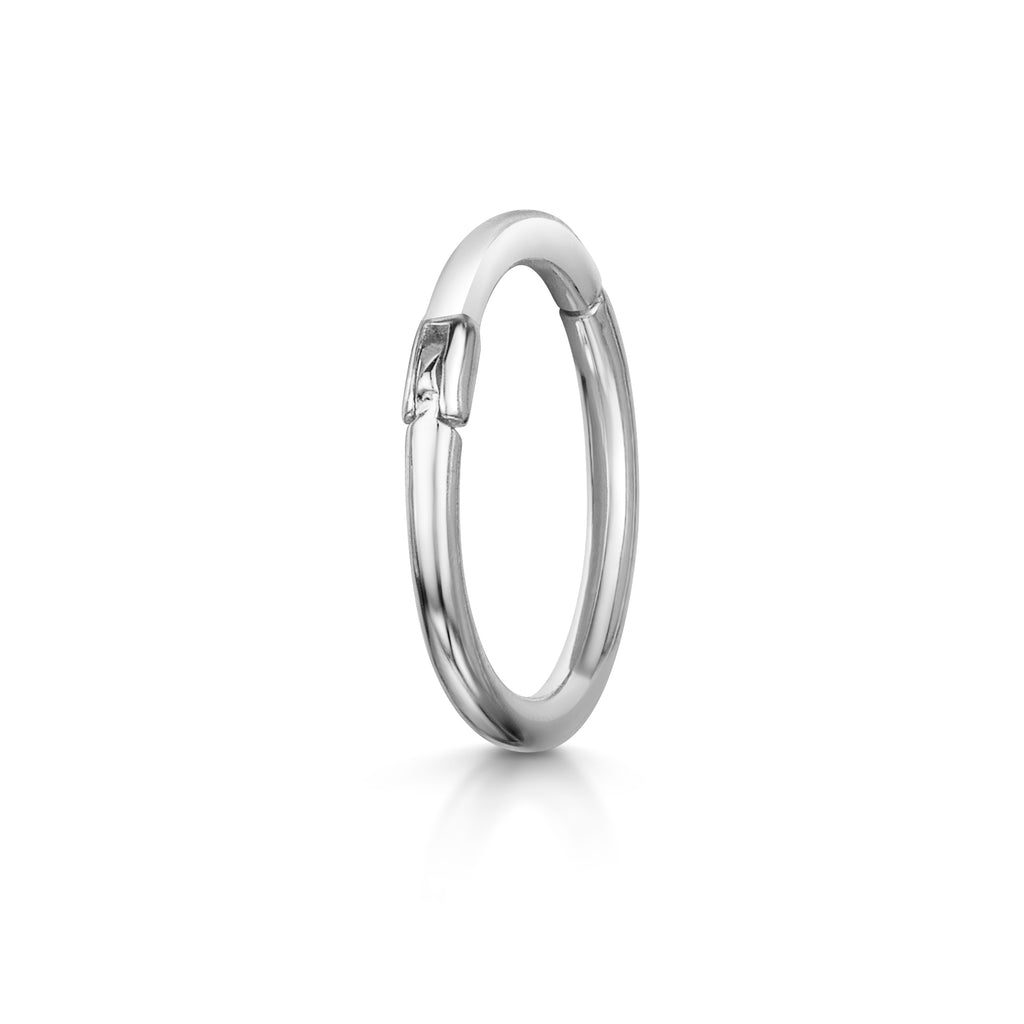 Clicker Hoop Earring: 9k white solid gold earring - LAURA BOND jewellery