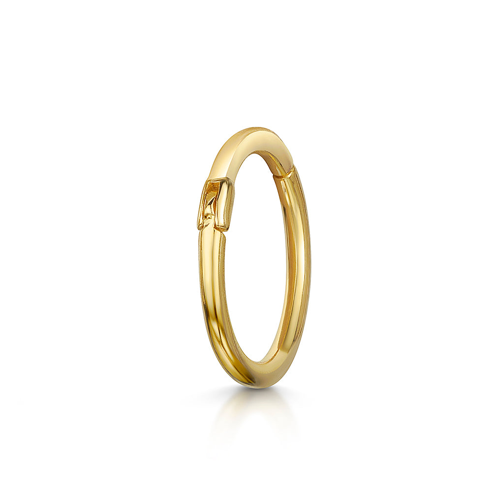 14k yellow solid gold clicker hoop earring - LAURA BOND jewellery