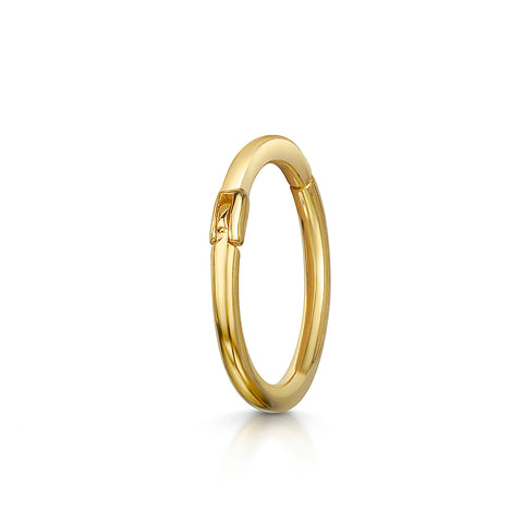 Clicker Hoop Earring: 9k white solid gold earring
