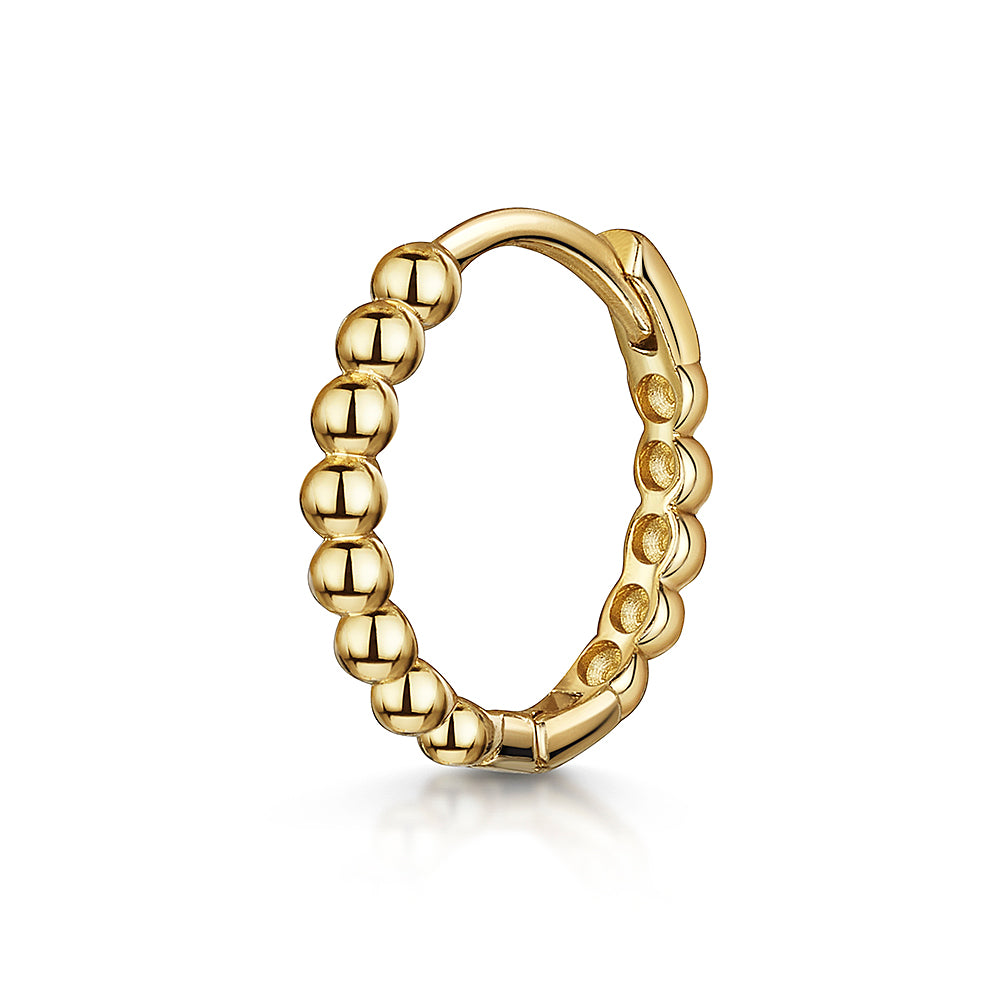 14k yellow solid gold boho beaded huggie hoop earring - LAURA BOND jewellery
