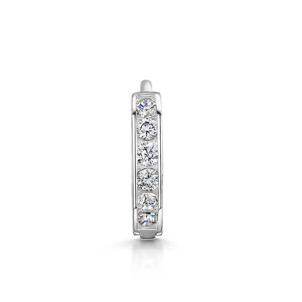 9k solid white gold channel set crystal huggie earring - LAURA BOND jewellery