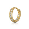 9k white solid gold boho beaded crystal charm huggie hoop earring