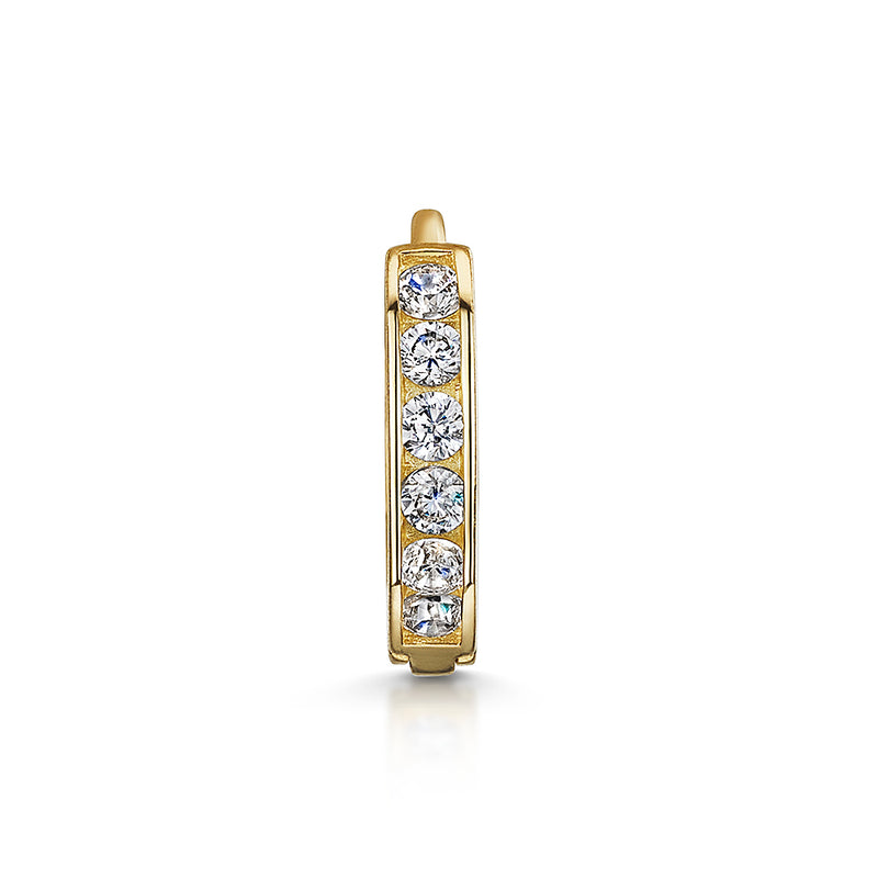 9k solid yellow gold channel set crystal huggie earring - LAURA BOND jewellery