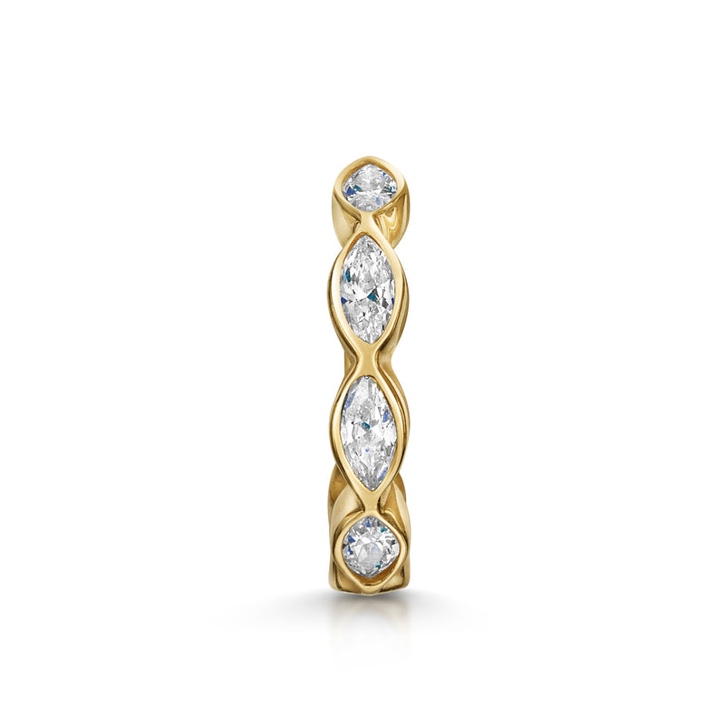 9k yellow solid gold marquise crystal huggie earring - LAURA BOND jewellery