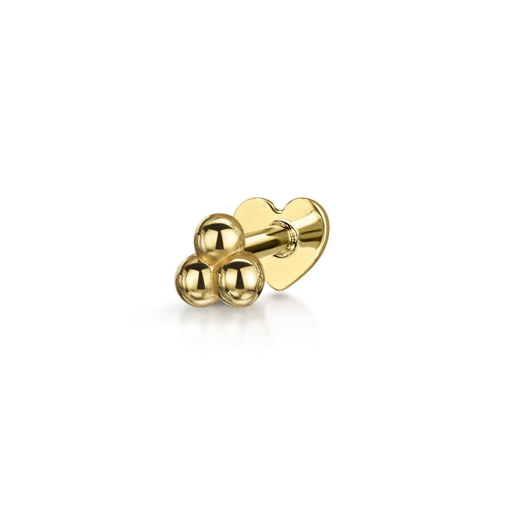14k yellow solid gold tiny triple ball labret stud earring - LAURA BOND jewellery