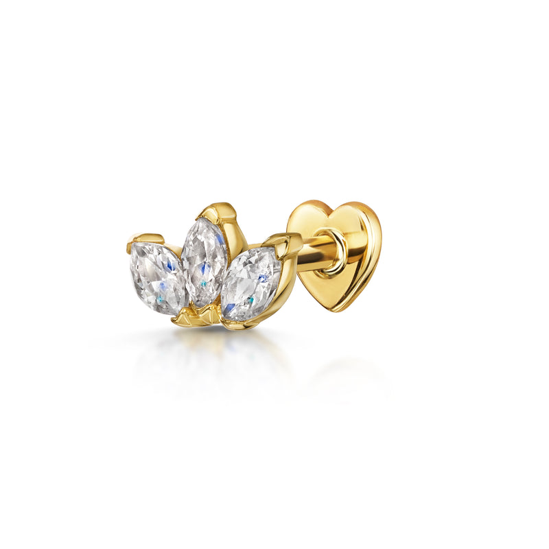 14k yellow solid gold Lotus cartilage labret stud earring - LAURA BOND jewellery